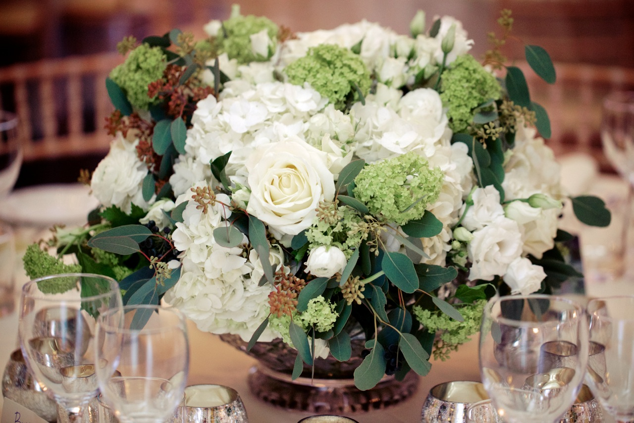 Amanda Austin London Florist Weddings White Rose and Hydrangea Table Centrepiece
