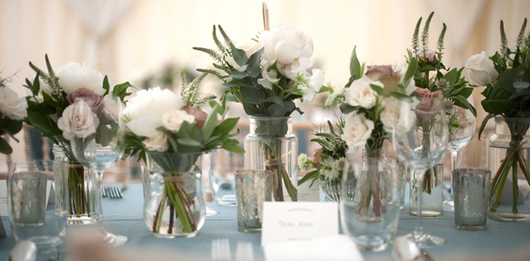 London Wedding Florist Carousel Jars of White Flowers Amanda Austin Flowers