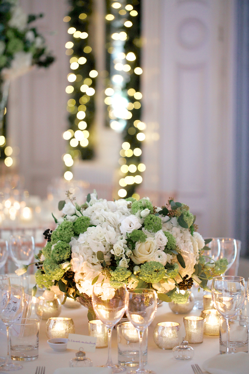 Amanda Austin London Florist White Hydrangea Guelder Table Centrepiece