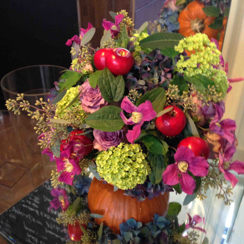 Amanda Austin London Florist Halloween Floral Arrangement Hydrangeas Clematis Guelder