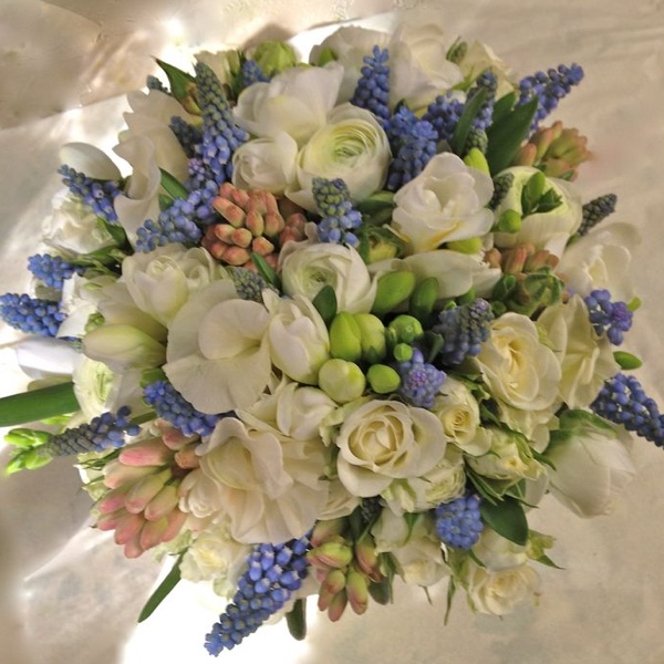Amanda Austin Flowers Bridal Bouquet Muscari Ranunculus Sweet Pea