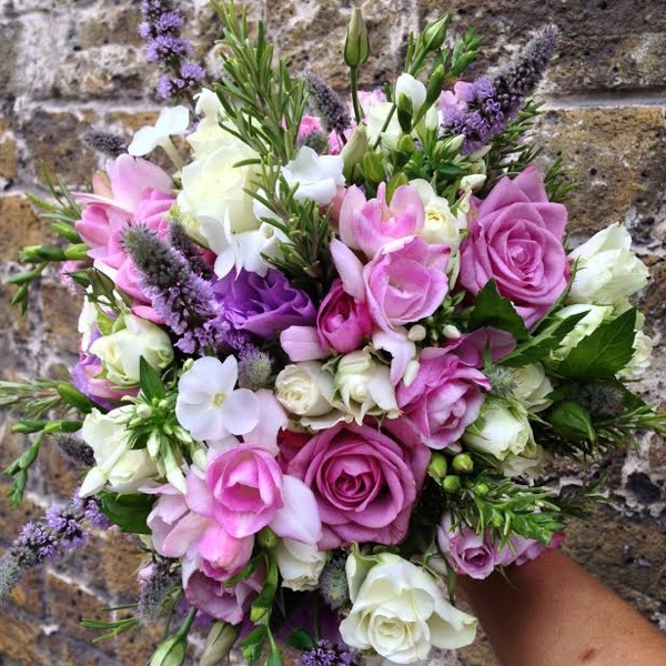 Amanda Austin Flowers Bridal Bouquet Rose Freesia Lisianthus Rosemary Mint